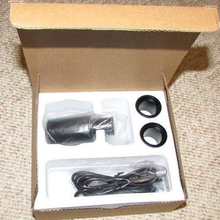 نمایی از جعبه باز شده جعبه دوربین 5 مگاپیکسلی مخصوص انواع میکروسکوپ و استریو میکروسکوپ