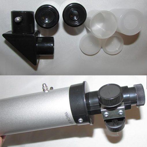 پریسکوپ ، عدسی های چشمی 6 و 12 و محل نصب پریسکوپ بروی انتهای لوله اصلی و سیستم فوکوس تلسکوپ 50600
